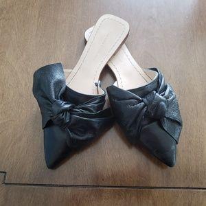 Zara leather bow flat slides size 37